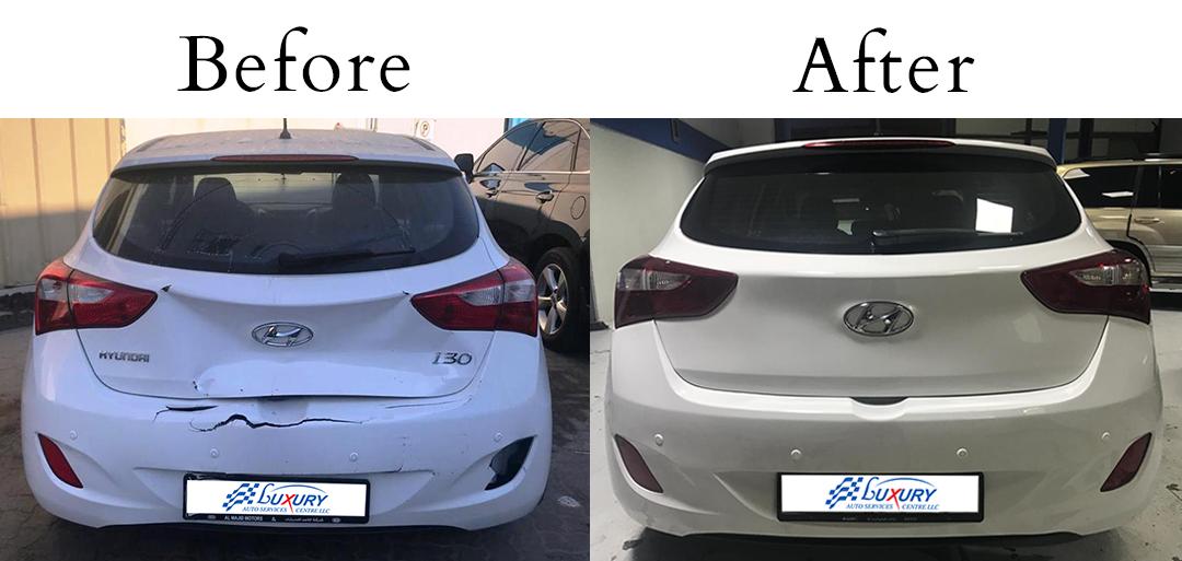 Hyundai I30 - Back Accident Repair - Luxury Auto Service Dubai