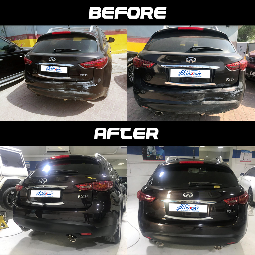 Infiniti 35 fx rear accident repair before and after instagram