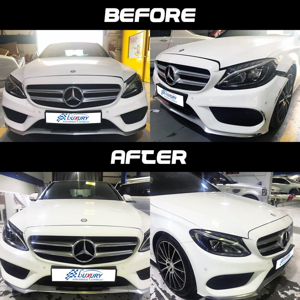 mbenz mercedes benz c 200 front accident repair before and after instagram